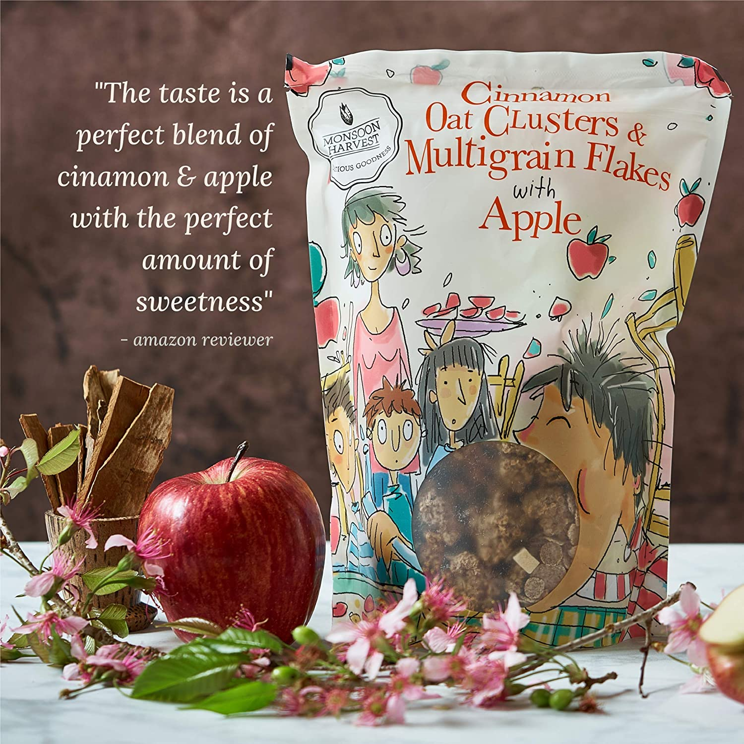 Monsoon Harvest Cinnamon Oats Clusters and Multigrain Flakes with Apple