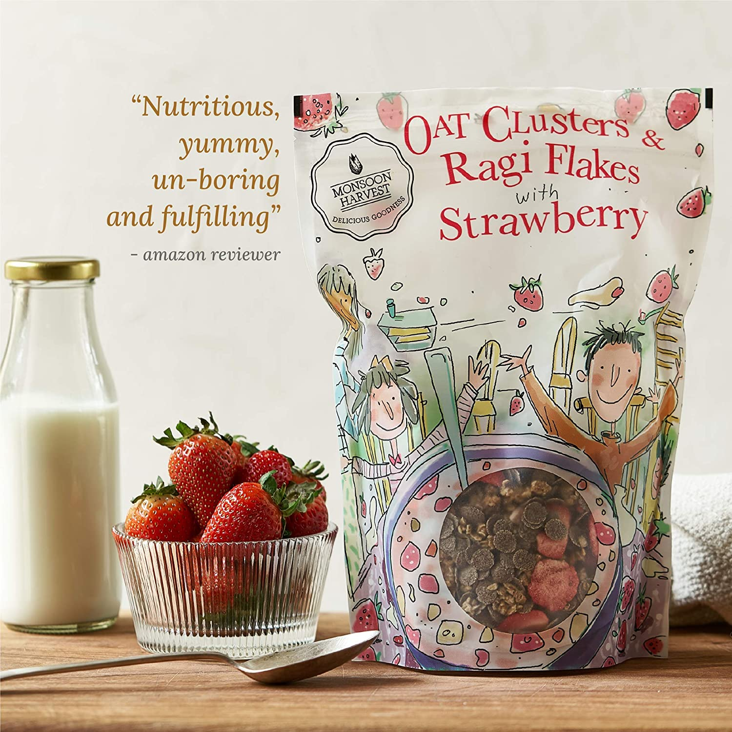 Monsoon Harvest Oats Clusters & Ragi Flakes with Strawberry Breakfast Cereal