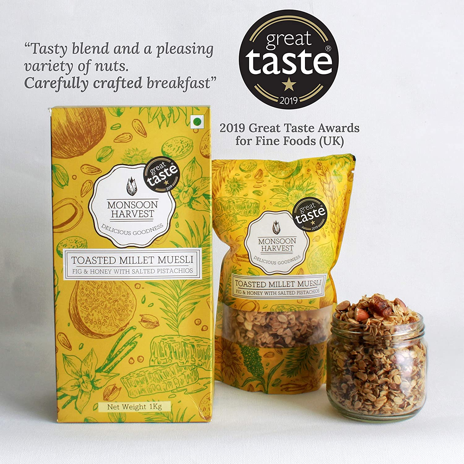 Monsoon Harvest Toasted Millet Muesli, Fig & Honey with Salted Pistachios