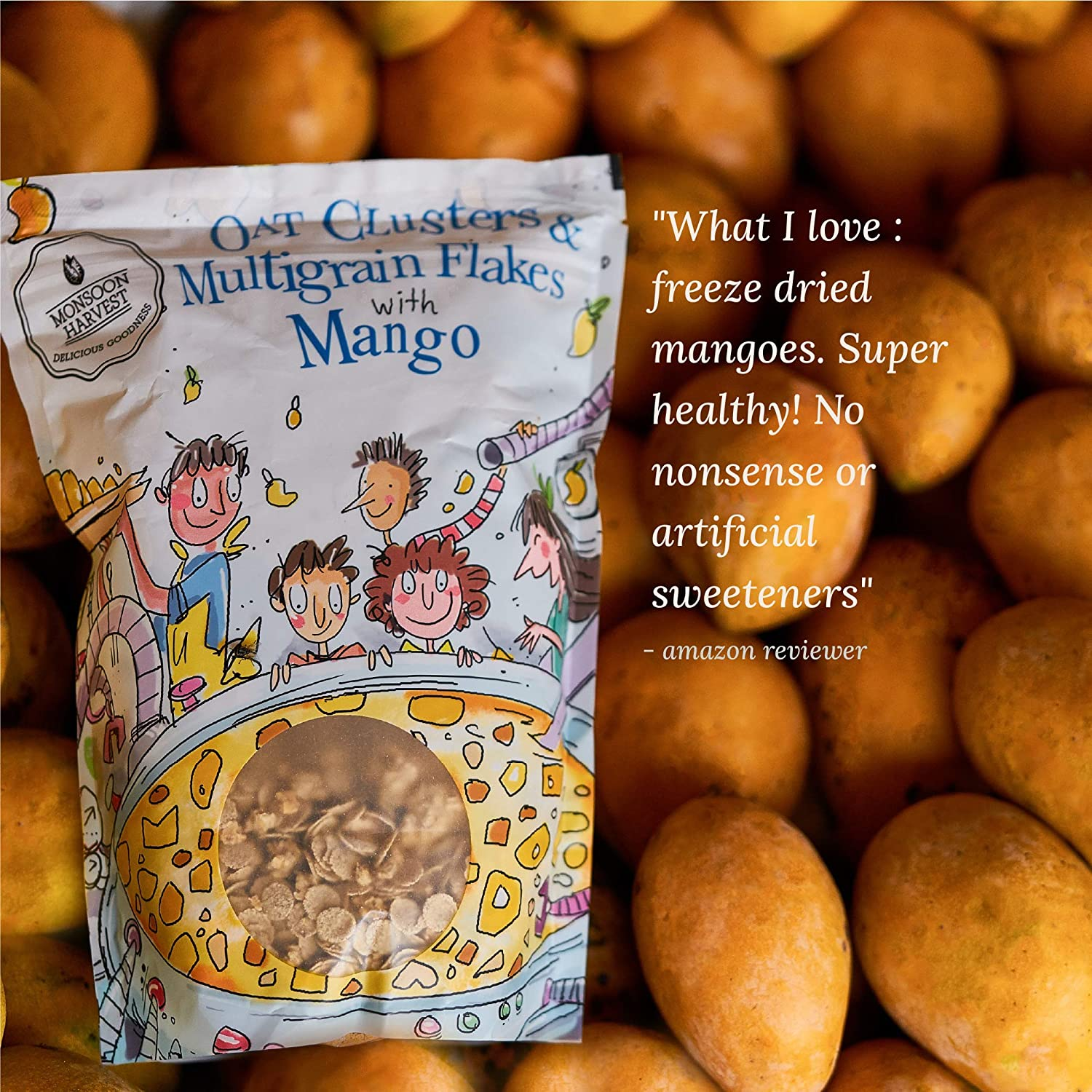 Monsoon Harvest Oats Clusters & Multigrain Flakes with Mango