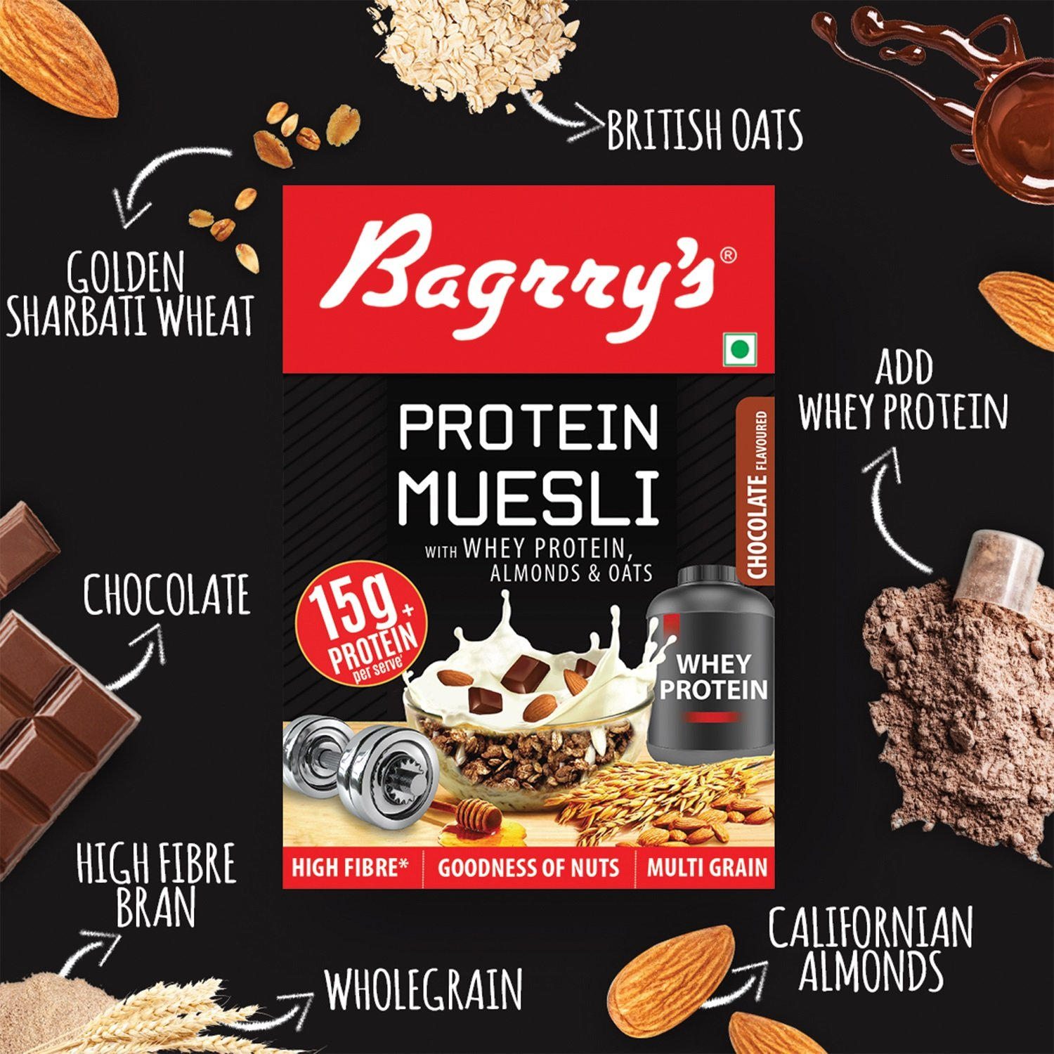 Bagrry's Protein Muesli with Whey Protein, Almonds and Oats