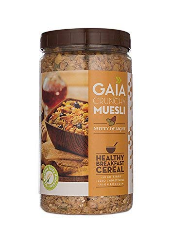 Gaia Crunchy Muesli Nutty Delight with Rolled Oats, Wheat, Corn Flakes, Assorted Nuts and Seeds