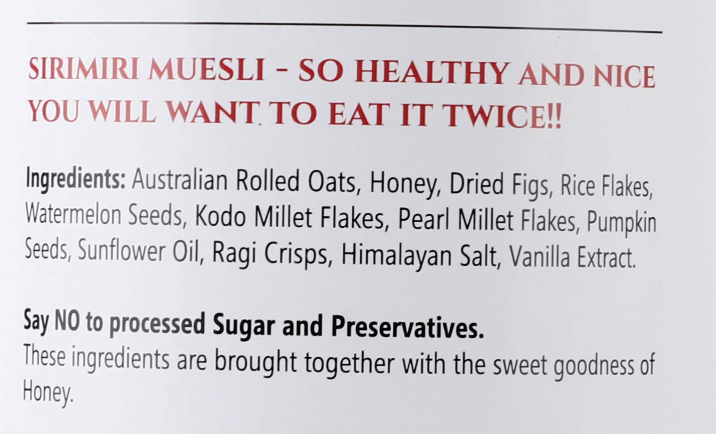 SIRIMIRI Premium Toasted Millet Muesli  Loaded with Fig & Honey (with Vanilla Flavour)