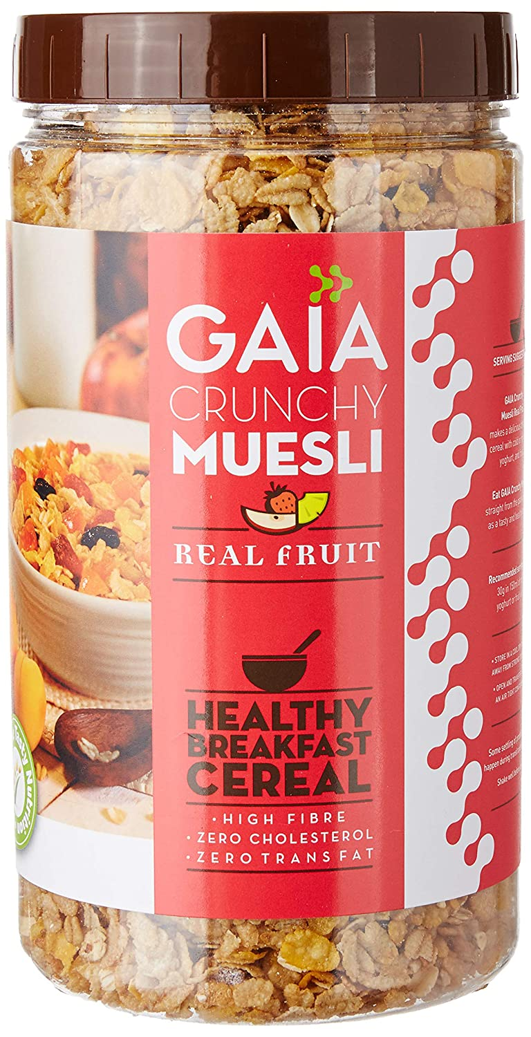 Gaia Crunchy Muesli with Real Fruit. Burst of Flavor in Every bite